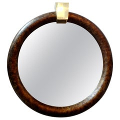 Karl Springer Style Faux Tortoise Shell Mirror