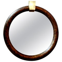 Karl Springer Style Faux Tortoise Shell Mirror with Brass Keystone