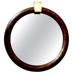 Karl Springer Style Faux Tortoise Shell Mirror with Brass Keystone