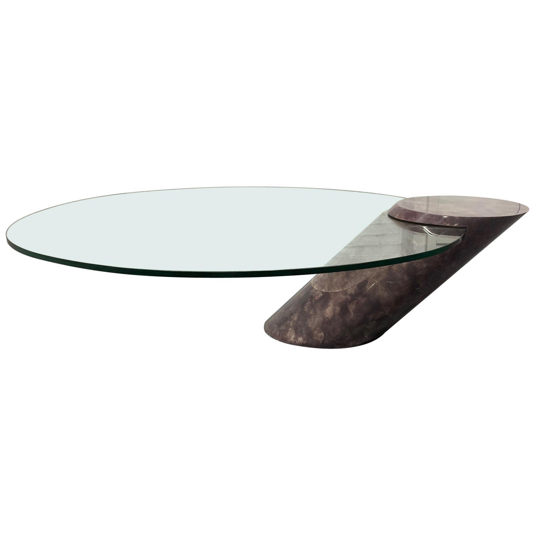 Karl Springer Style Goatskin Cantilevered Coffee Table