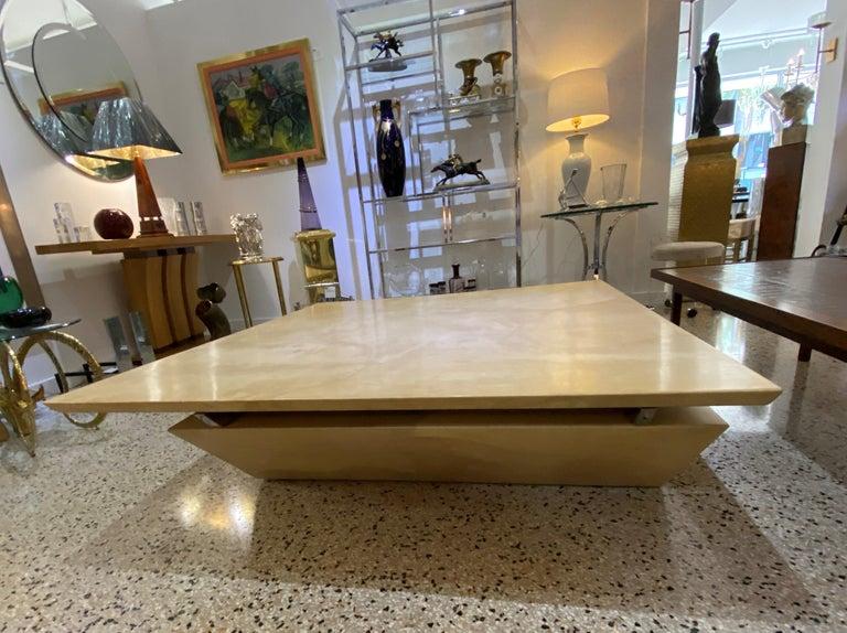 Mid-Century Modern Karl Springer Style Goatskin Cocktail Table For Sale