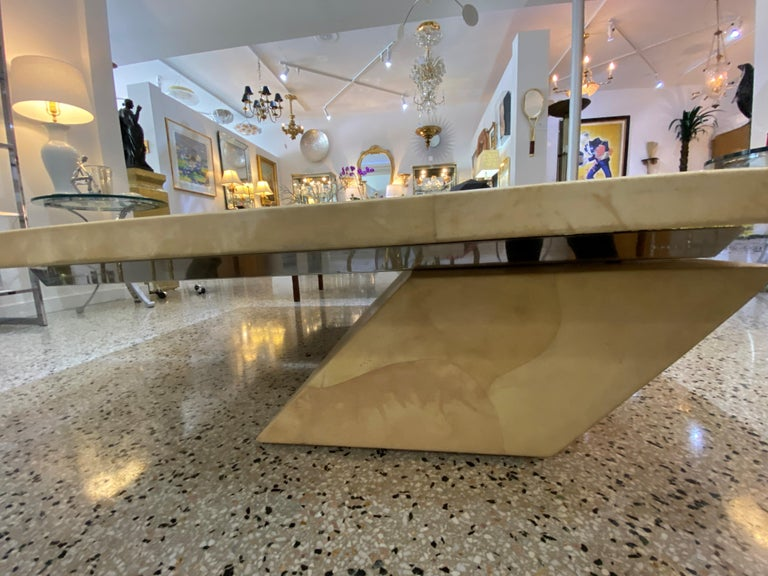 Karl Springer Style Goatskin Cocktail Table In Good Condition For Sale In West Palm Beach, FL