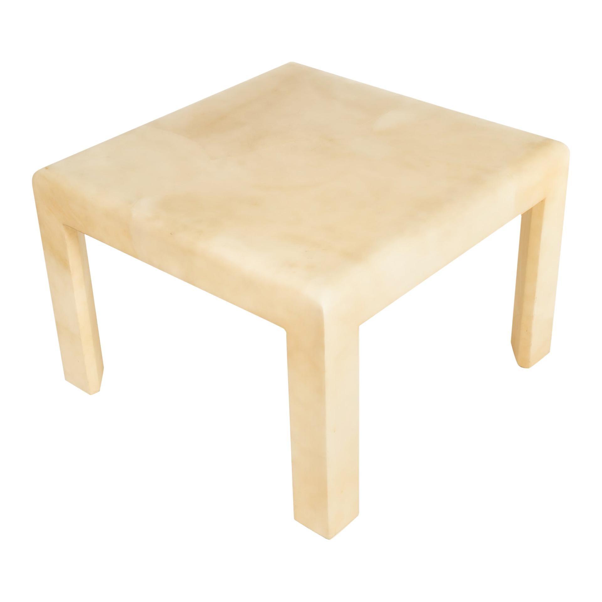 Karl Springer Style Goatskin Side Table