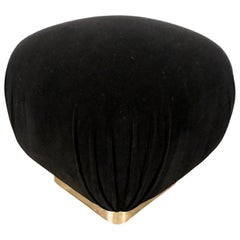 Karl Springer Style Hollywood Glam New Black Velvet and Chrome Base Pouf