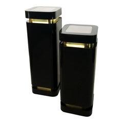 Karl Springer Style Hollywood Regency Black and Brass Pedestals
