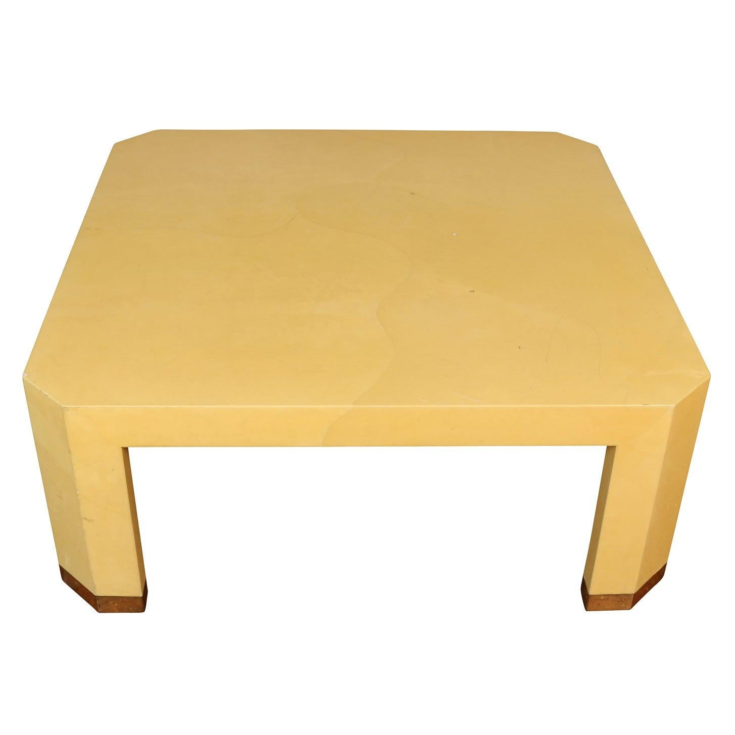 Karl Springer Style Lacquered Goatskin Square Coffee Table