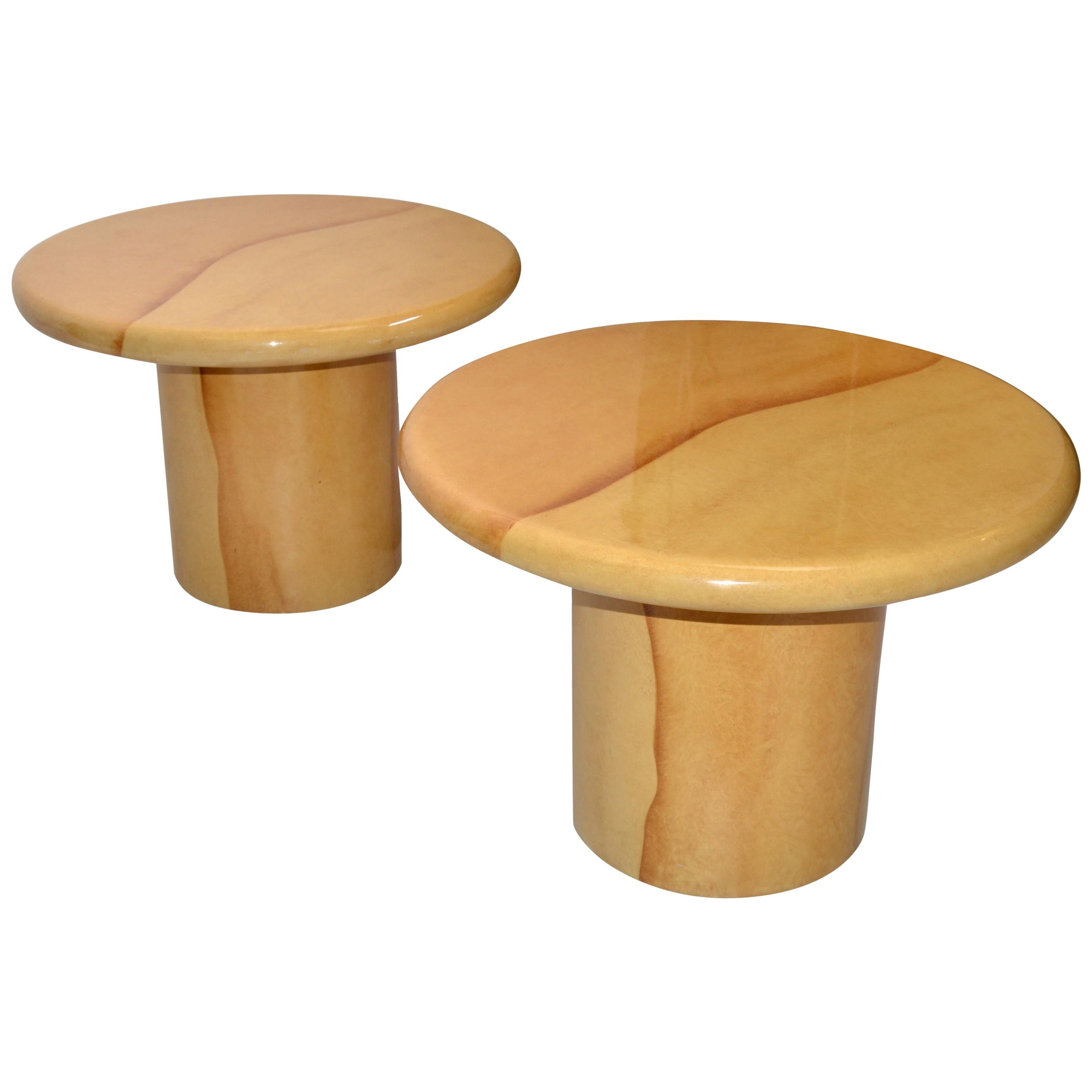Karl Springer Style Lacquered Top Side Tables Mid-Century Modern, Pair