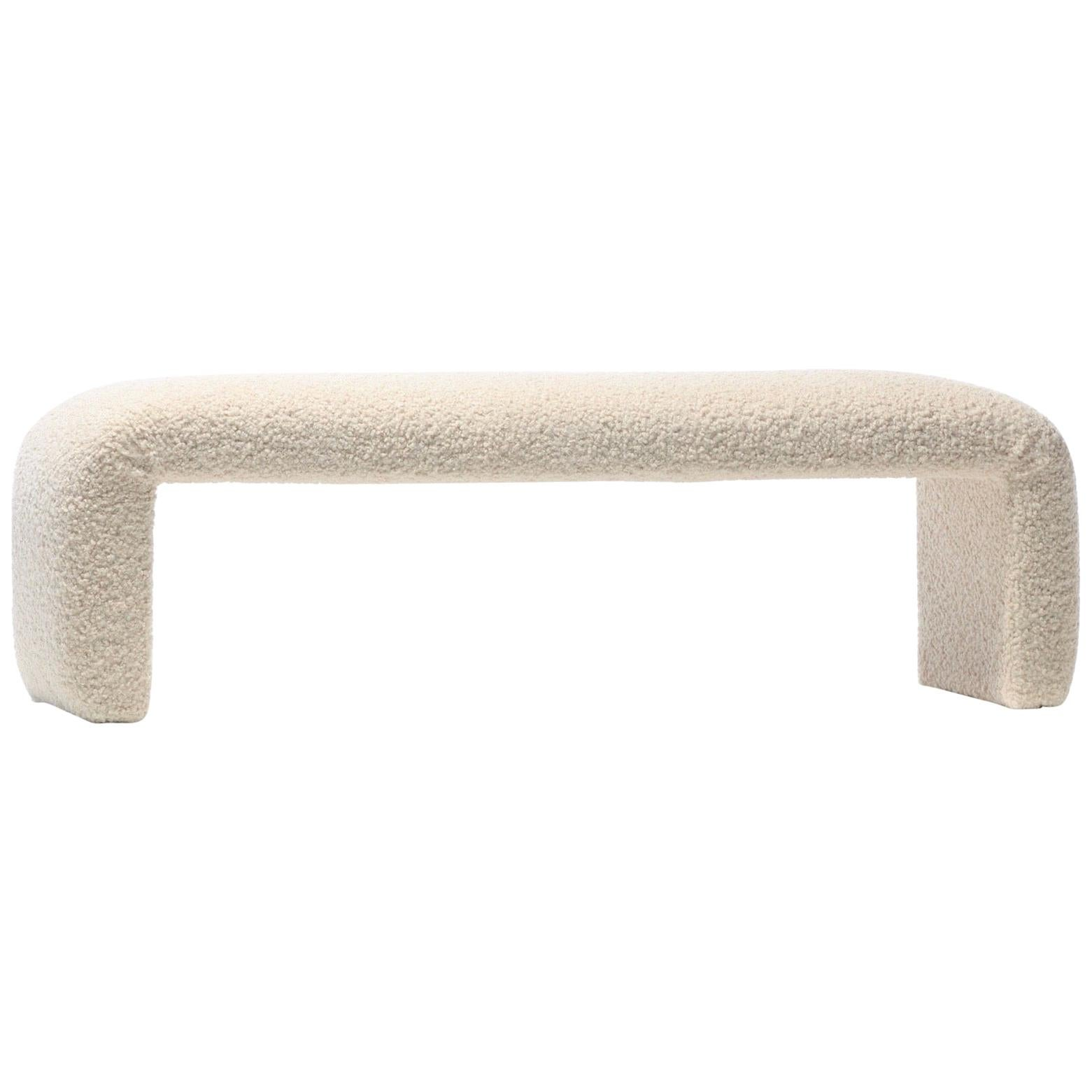 Karl Springer Style Large Waterfall Bench in Ivory Bouclé