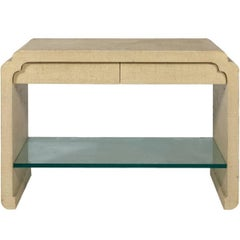Karl Springer Style Linen Wrapped Console with Glass Shelf