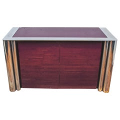 Karl Springer Style Mid-Century Modern Lacquer and Chrome Credenza