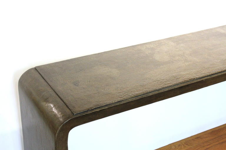 Karl Springer style modern lacquered console table with craquelure finish and rounded edges, circa 1970s. From the Estate of designer, model, television host, and business woman, Nina Griscom.