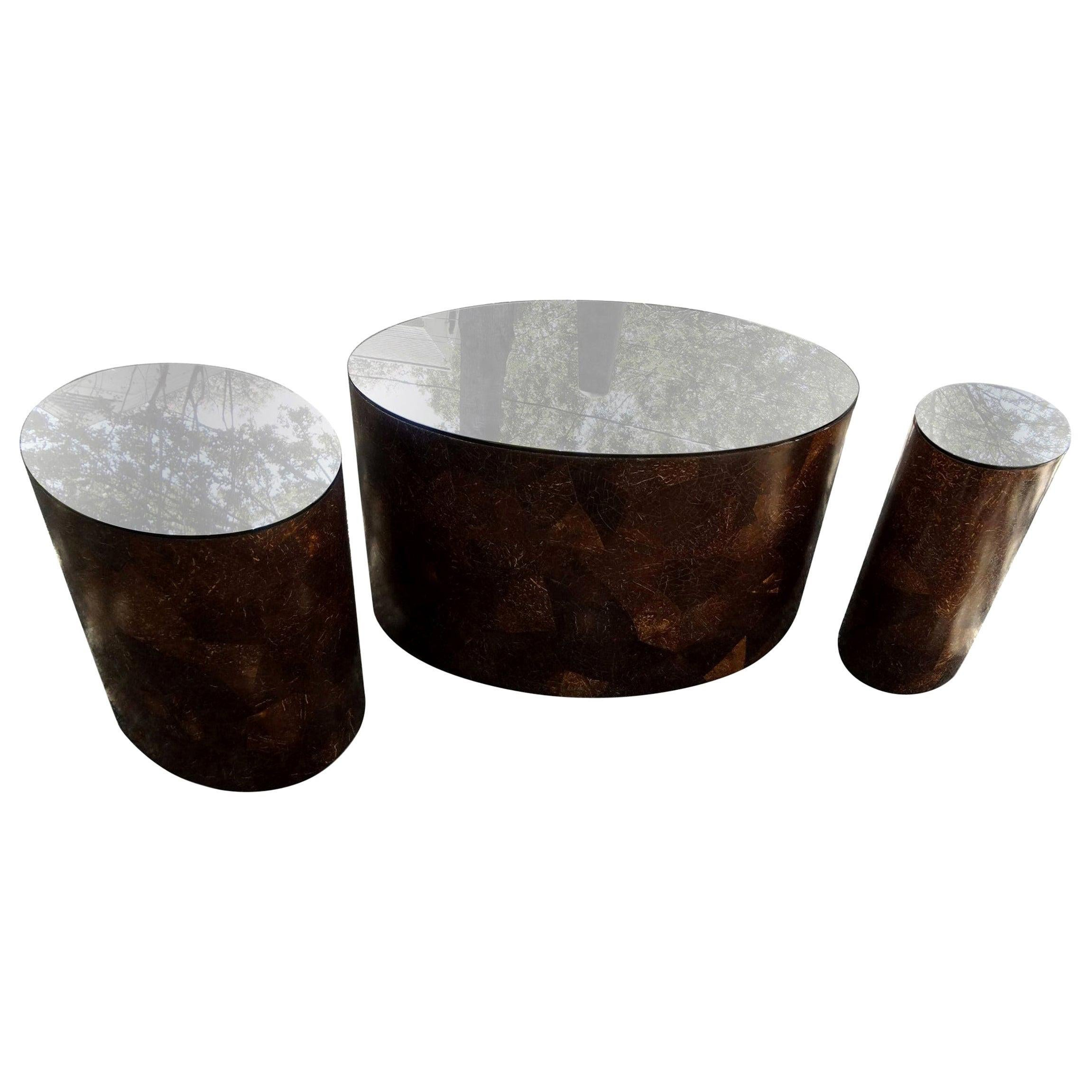 Karl Springer Style Oval Coconut Shell Tables with Bronze Mirrored Tops