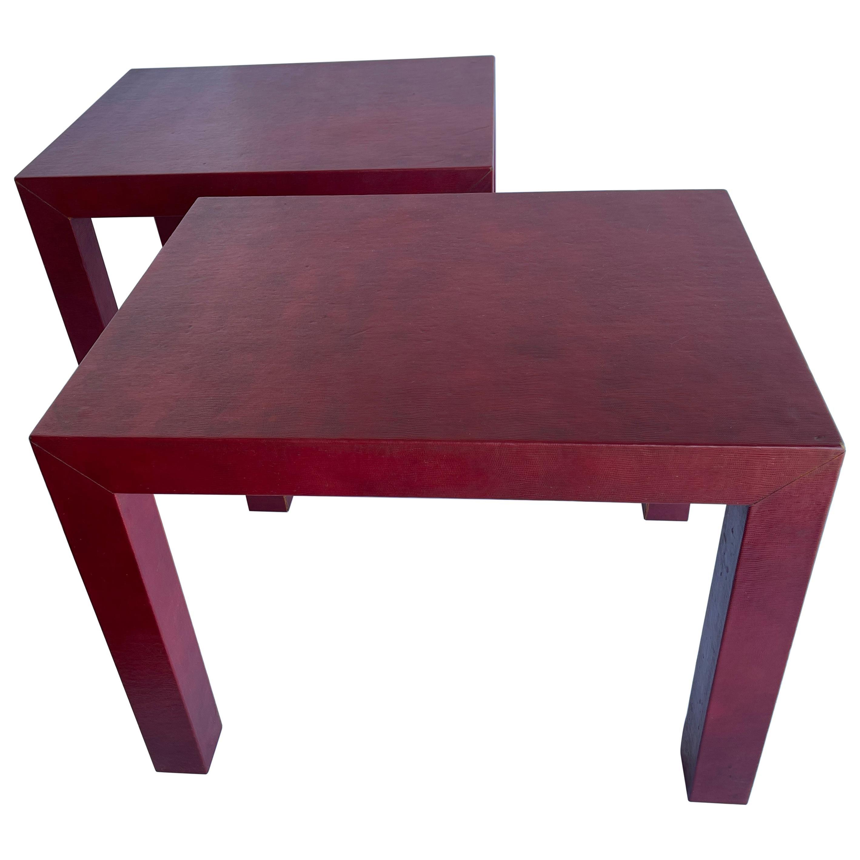 Karl Springer Style Pair of Red Parsons Side Tables Snake Skin Embossed