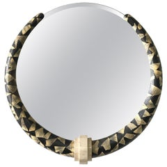 Karl Springer Style Python and Tessellated Stone Mirror