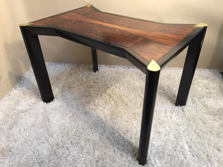 Quality rosewood top, dark walnut brass top leg game-table, reversible top for chess checkers, backgammon interior, another listing has two Harvey Probber chairs that work with this table.