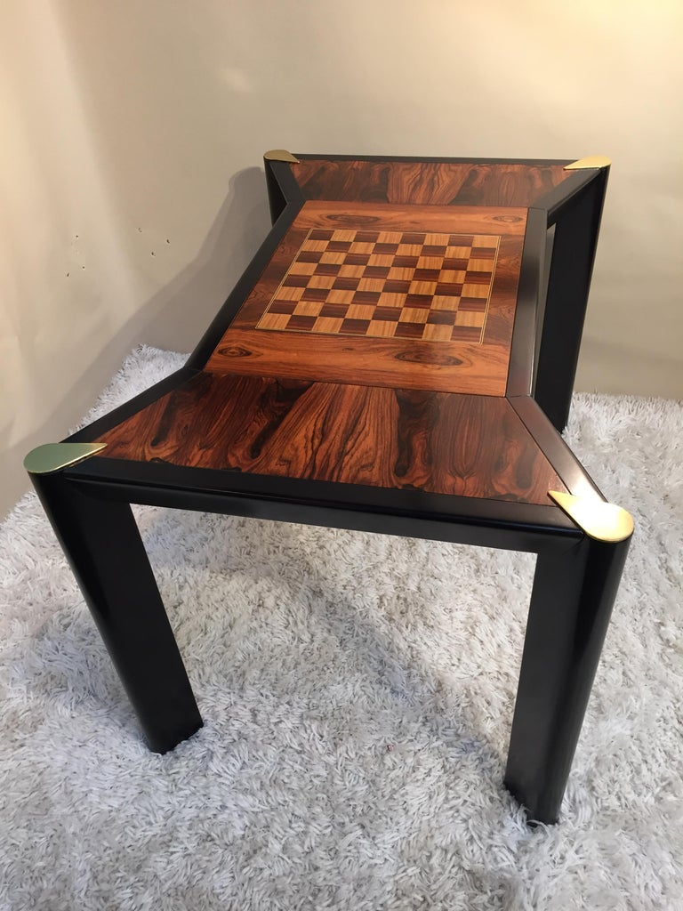 Mid-Century Modern Rosewood Game Table /Backgammon Chess Checkers Two Sided