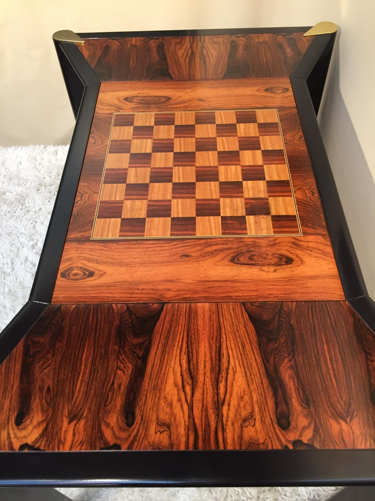 Hand-Crafted Rosewood Game Table /Backgammon Chess Checkers Two Sided