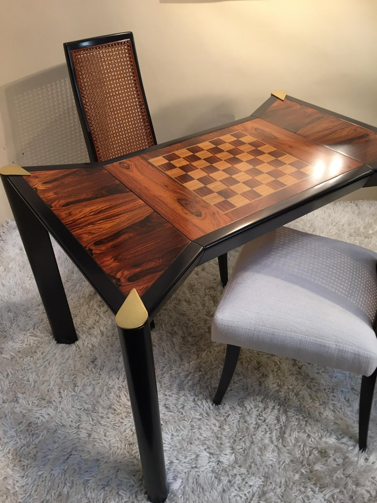 Rosewood Game Table /Backgammon Chess Checkers Two Sided In Excellent Condition In Westport, CT