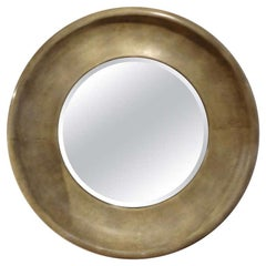 Karl Springer Style Round Goatskin Beveled Mirror