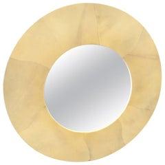 Karl Springer Style Round Goatskin Mirror