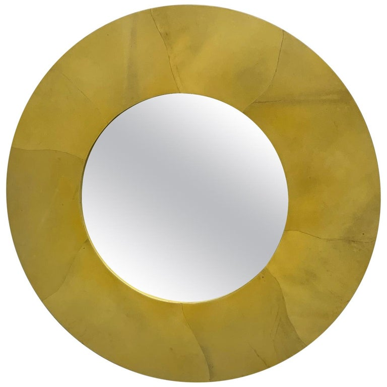 Karl Springer Style Round Goatskin Mirror For Sale