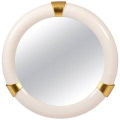 Karl Springer Style Round Mirror