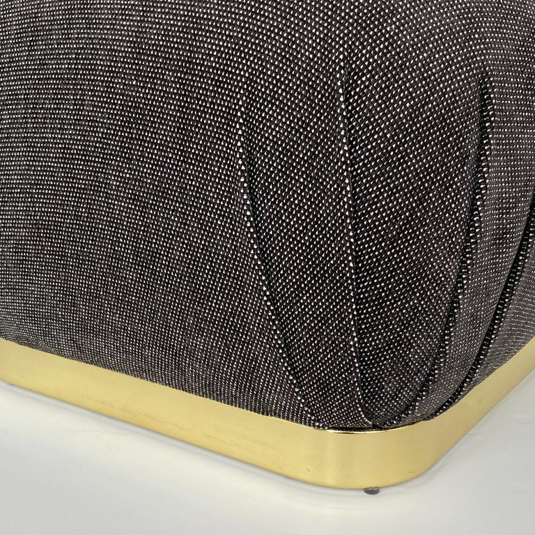 Karl Springer Style Soufflé Pouf Ottoman with Brass Base 1