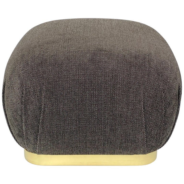 Karl Springer Style Soufflé Pouf Ottoman with Brass Base
