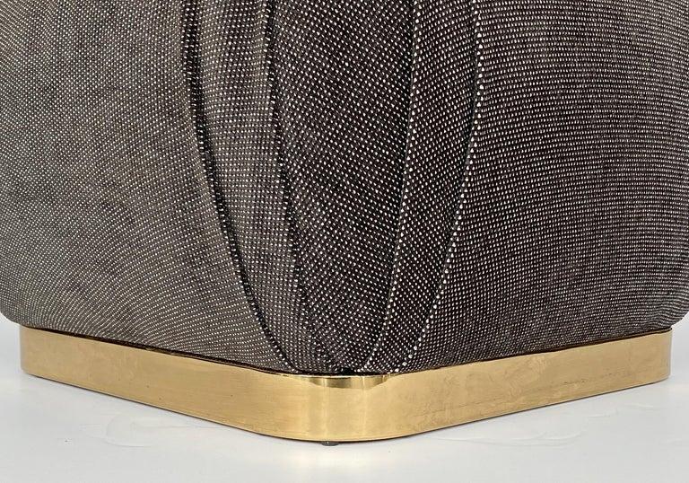 Karl Springer Style Soufflé Pouf Ottoman with Bronze Tone Base 2