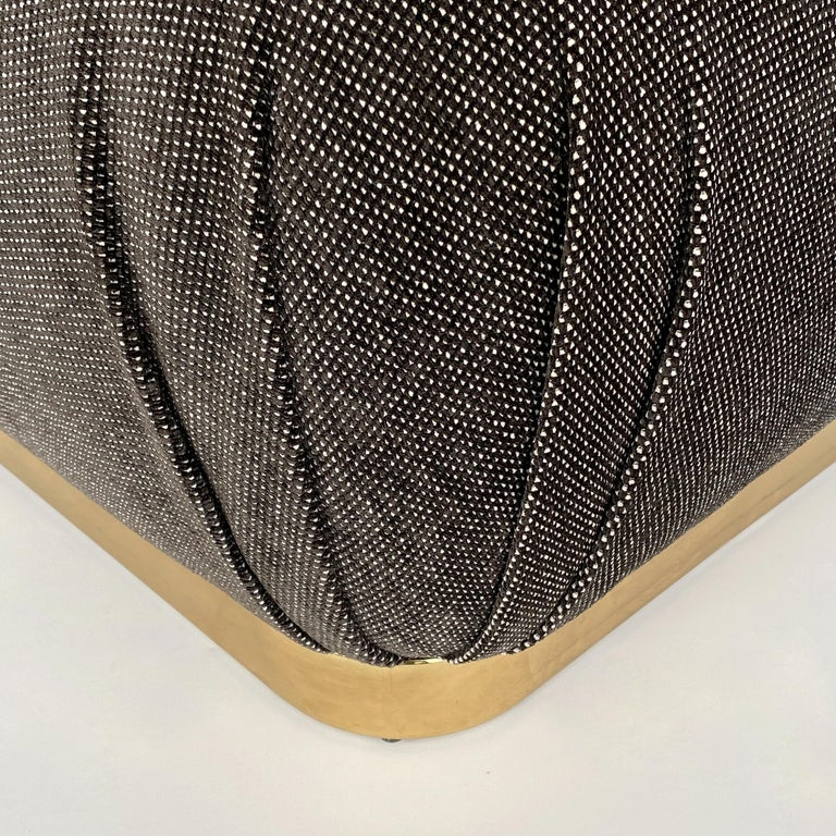 Karl Springer Style Soufflé Pouf Ottoman with Bronze Tone Base 3