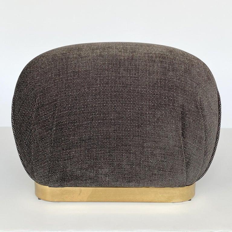 Mid-Century Modern Karl Springer Style Soufflé Pouf Ottoman with Bronze Tone Base
