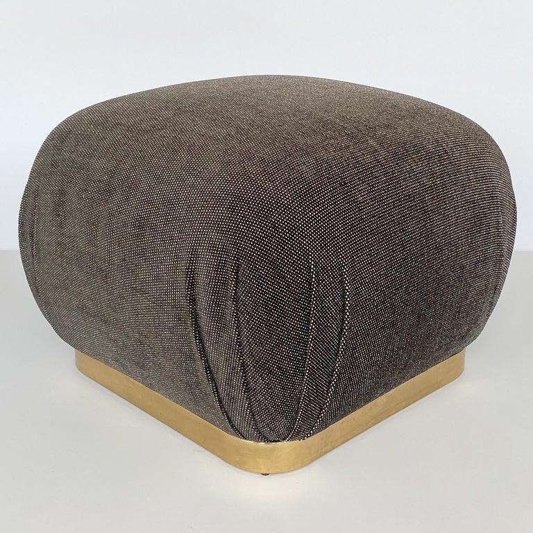 American Karl Springer Style Soufflé Pouf Ottoman with Bronze Tone Base