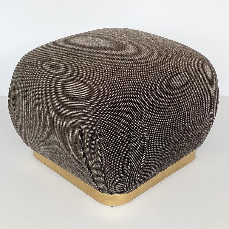 Patinated Karl Springer Style Soufflé Pouf Ottoman with Bronze Tone Base