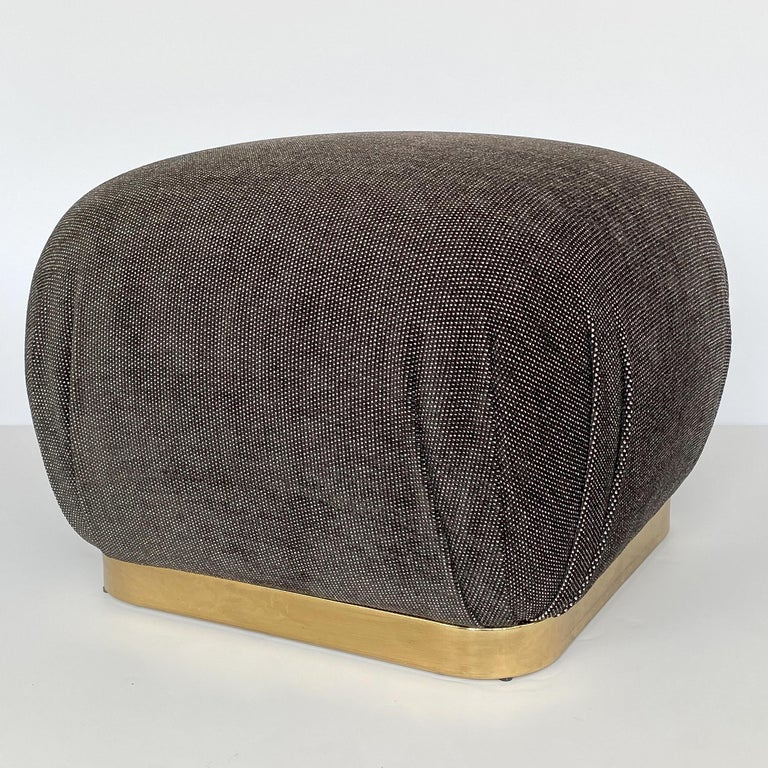 Karl Springer Style Soufflé Pouf Ottoman with Bronze Tone Base In Good Condition In Chicago, IL