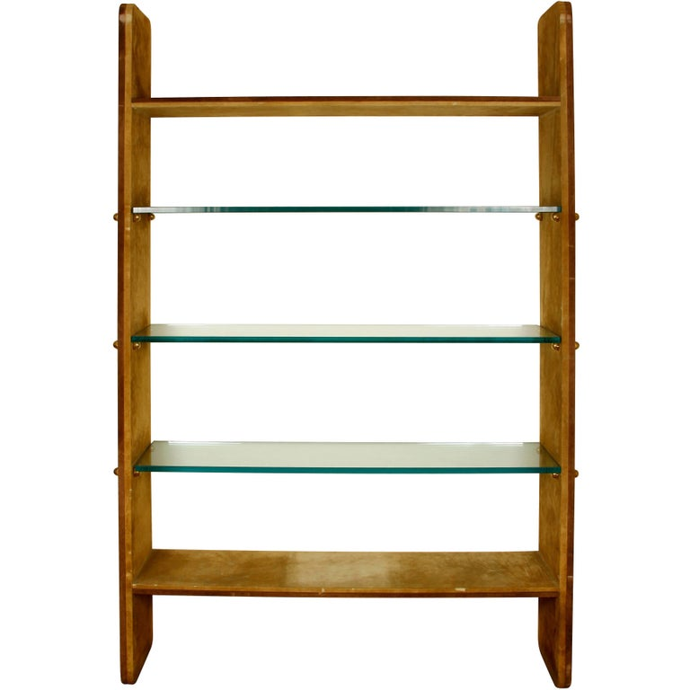 Karl Springer Style Suede and Glass Etagere