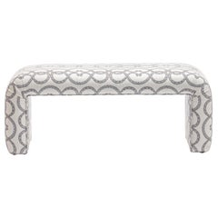 Karl Springer Style Waterfall Bench in Snake Pattern Ivory Linen Fabric