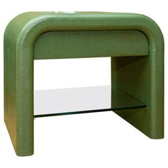 Karl Springer Style Waterfall Shape Lacquered Linen Side Table with a Painted A