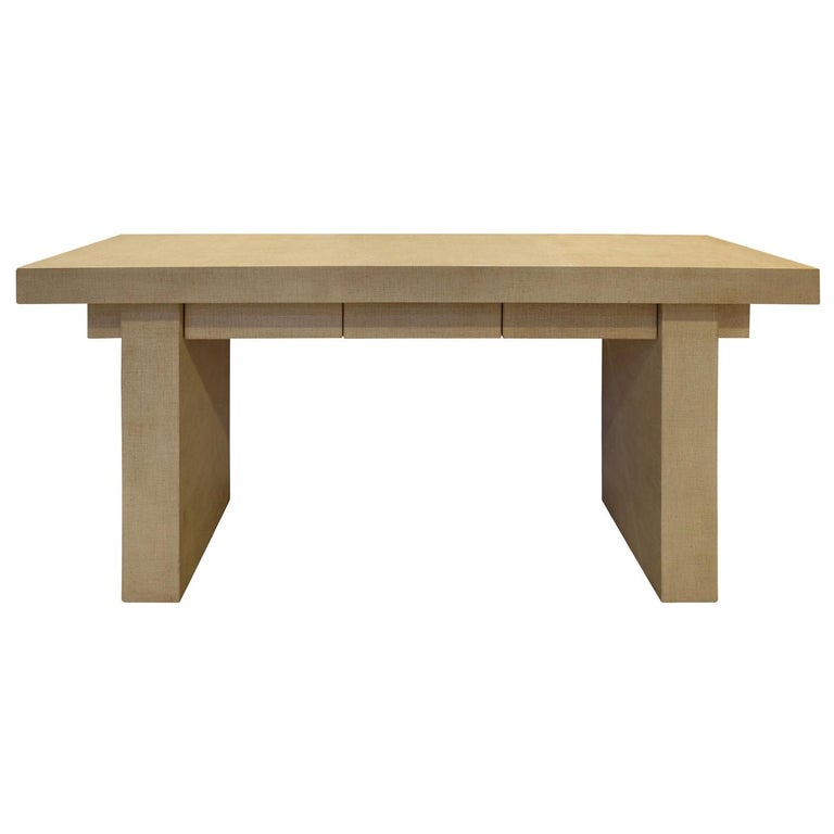 """Karl Springer """"T-Style Console Table"""" in Lacquered Linen, 1970s For Sale"""