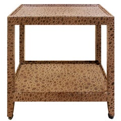 """Karl Springer """"Telephone Table"""" End Table in Embossed Leather 1970s, Signed"""