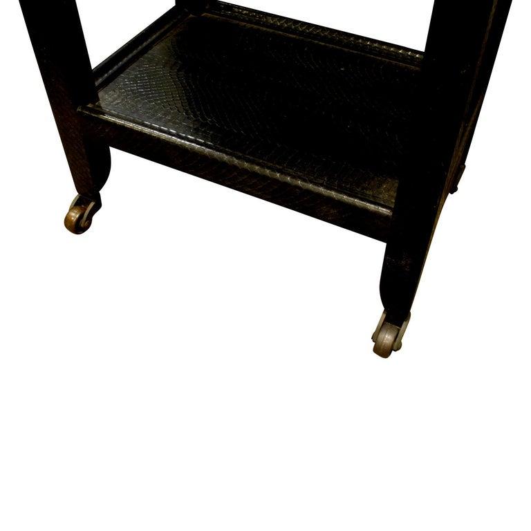 American Karl Springer Telephone Table in Black Cobra 1985 'Signed' For Sale