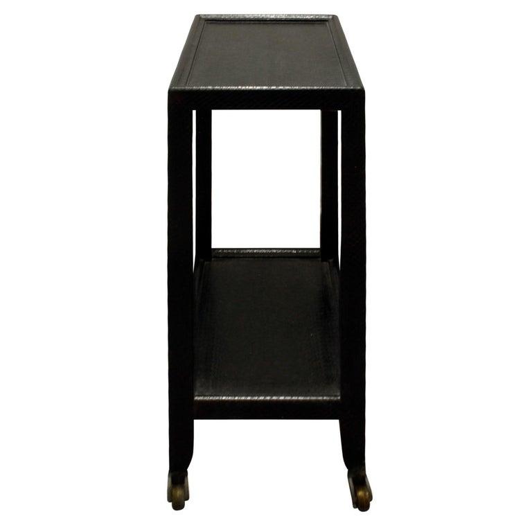 Hand-Crafted Karl Springer Telephone Table in Black Cobra 1985 'Signed' For Sale