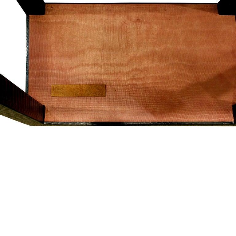 Late 20th Century Karl Springer Telephone Table in Black Cobra 1985 'Signed' For Sale