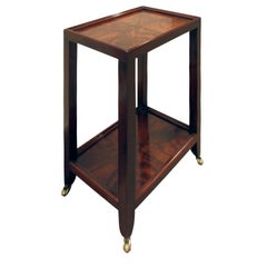 Karl Springer Telephone Table in Double Bookmatched Flame Mahogany, 2002