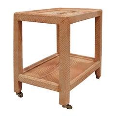 """Karl Springer """"Telephone Table"""" in Peach Snakeskin 1970s 'Signed'"""