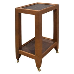 """Karl Springer """"Telephone Table"""" Style End Table in Leather and Shagreen, 1980s"""