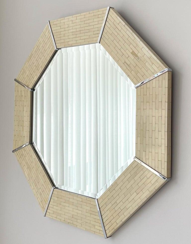 Mid-Century Modern Karl Springer Tessellated Bone Octagon Wall Mirror For Sale