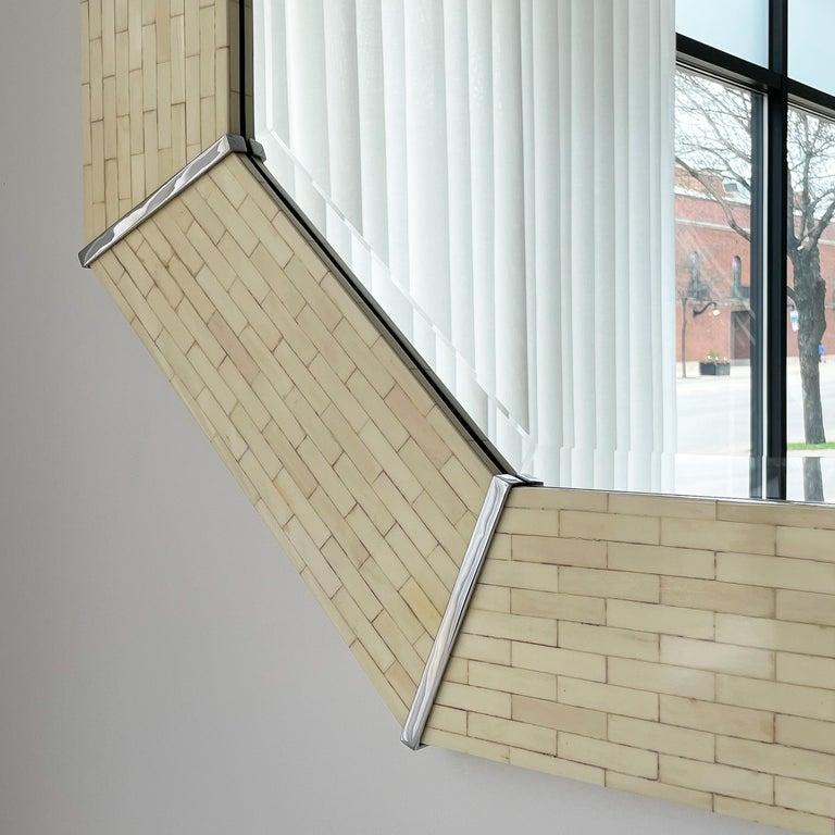 American Karl Springer Tessellated Bone Octagon Wall Mirror For Sale