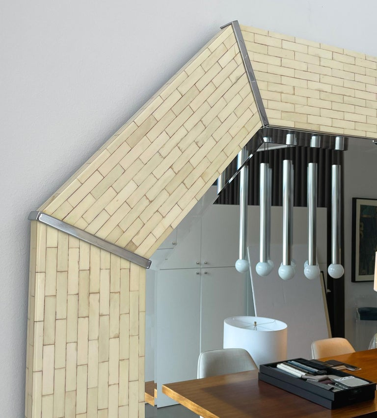 Late 20th Century Karl Springer Tessellated Bone Octagon Wall Mirror For Sale