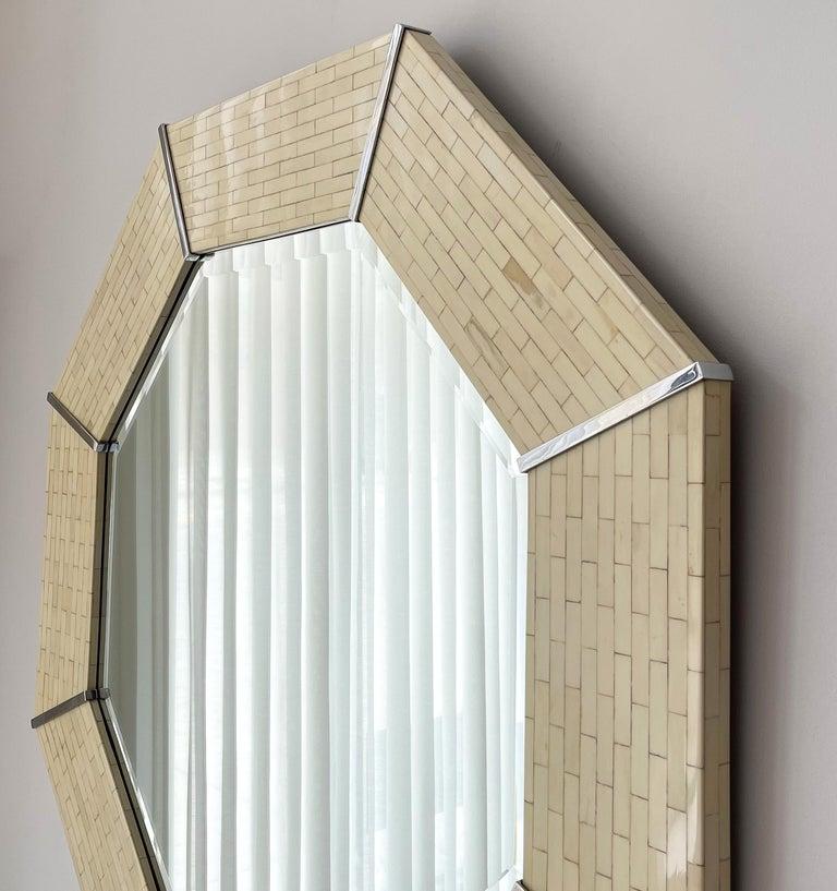 Chrome Karl Springer Tessellated Bone Octagon Wall Mirror For Sale