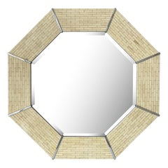 Karl Springer Tessellated Bone Octagon Wall Mirror